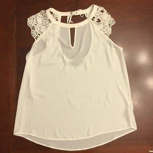Express White Blouse with Lace Cap Sleeve